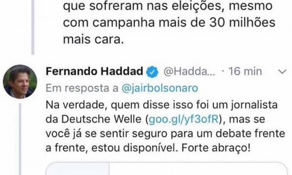 Jair Bolsonaro e Fernando Haddad brigam sobre